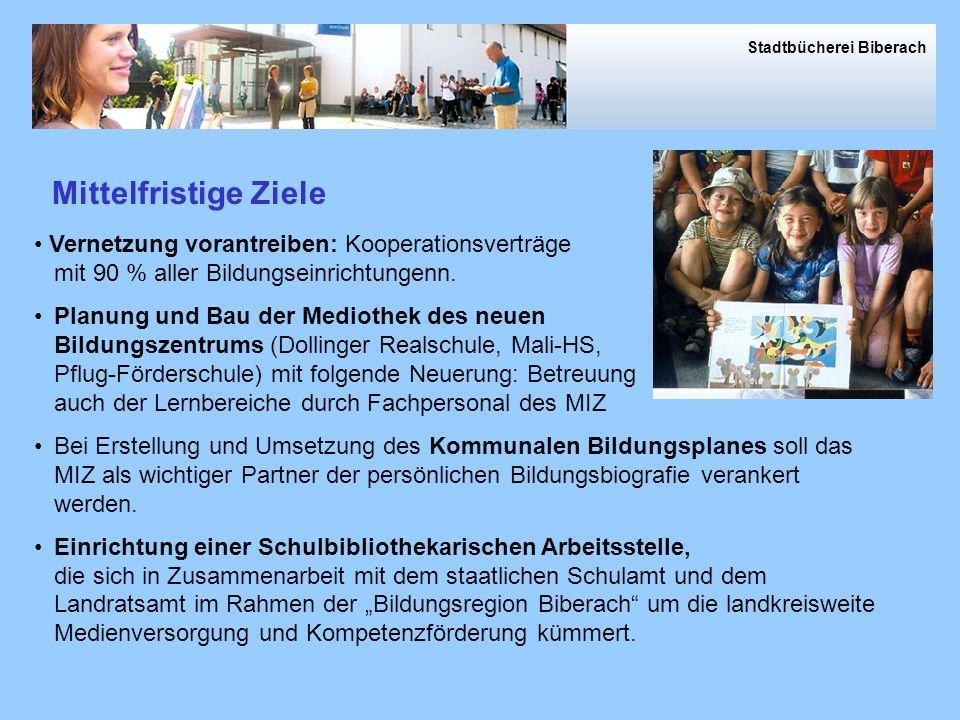 Stadtbücherei Biberach Vernetzung vorantreiben: Kooperationsverträge mit 90 % aller Bildungseinrichtungenn.
