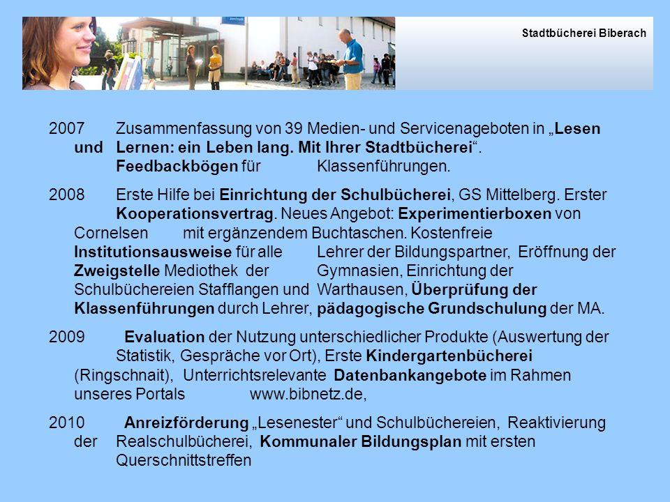 2009 in Zahlen 2007Zusammenfassung von 39 Medien- und Servicenageboten in Lesen und Lernen: ein Leben lang.