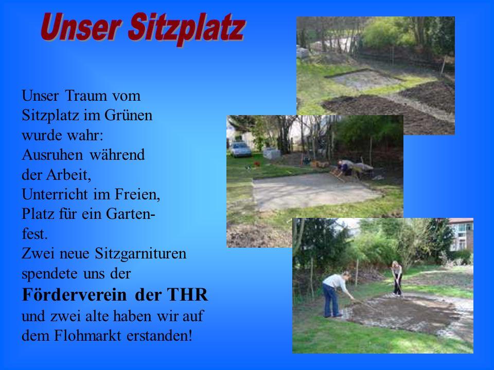 Unser Traum vom Sitzplatz im Grünen wurde wahr: Ausruhen während der Arbeit, Unterricht im Freien, Platz für ein Garten- fest.