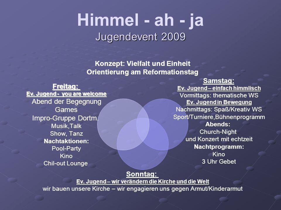 Jugendevent 2009 Himmel - ah - ja Jugendevent 2009 Konzept: Vielfalt und Einheit Orientierung am Reformationstag Samstag: Ev.