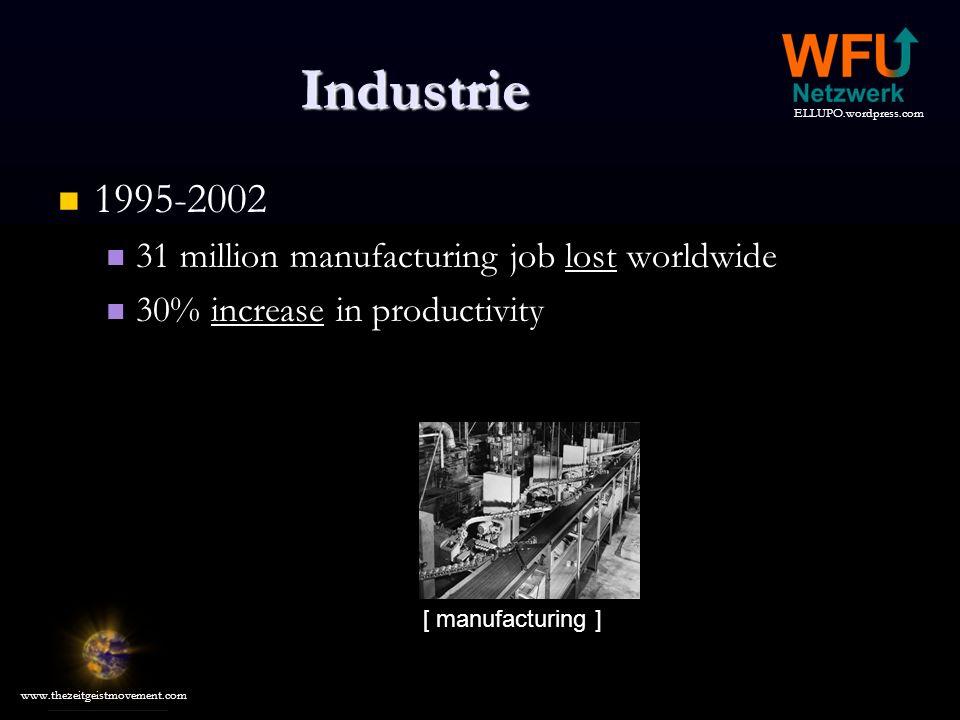 ELLUPO.wordpress.com www.thezeitgeistmovement.com Industrie 1995-2002 1995-2002 31 million manufacturing job lost worldwide 30% increase in productivity [ manufacturing ]