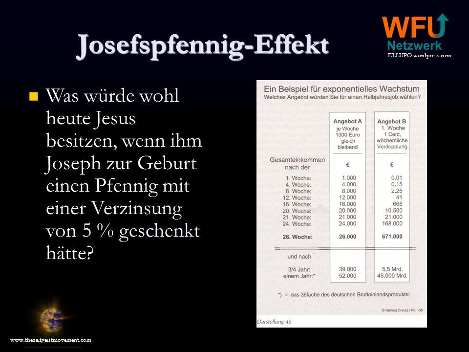 ELLUPO.wordpress.com www.thezeitgeistmovement.com Josefspfennig-Effekt Was würde wohl heute Jesus besitzen, wenn ihm Joseph zur Geburt einen Pfennig mit einer Verzinsung von 5 % geschenkt hätte.