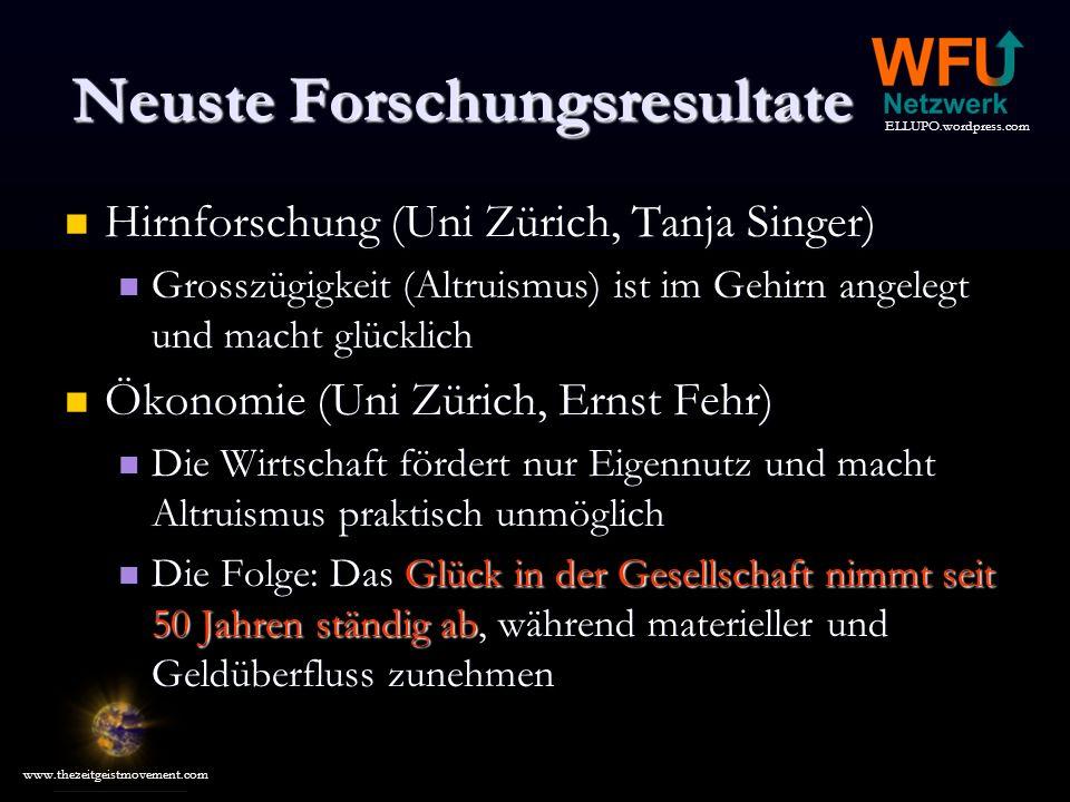 ELLUPO.wordpress.com www.thezeitgeistmovement.com Neuste Forschungsresultate Hirnforschung (Uni Zürich, Tanja Singer) Hirnforschung (Uni Zürich, Tanja Singer) Grosszügigkeit (Altruismus) ist im Gehirn angelegt und macht glücklich Grosszügigkeit (Altruismus) ist im Gehirn angelegt und macht glücklich Ökonomie (Uni Zürich, Ernst Fehr) Ökonomie (Uni Zürich, Ernst Fehr) Die Wirtschaft fördert nur Eigennutz und macht Altruismus praktisch unmöglich Die Wirtschaft fördert nur Eigennutz und macht Altruismus praktisch unmöglich Die Folge: Das Glück in der Gesellschaft nimmt seit 50 Jahren ständig ab, während materieller und Geldüberfluss zunehmen Die Folge: Das Glück in der Gesellschaft nimmt seit 50 Jahren ständig ab, während materieller und Geldüberfluss zunehmen