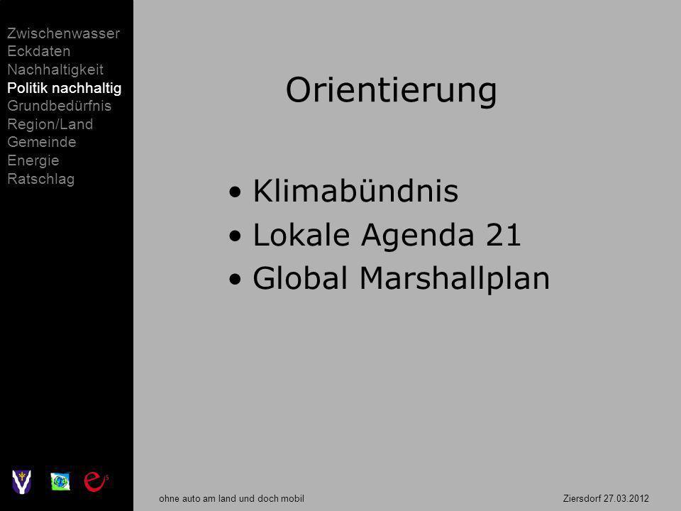 ohne auto am land und doch mobil Ziersdorf 27.03.2012 Orientierung Klimabündnis Lokale Agenda 21 Global Marshallplan Zwischenwasser Eckdaten Nachhalti