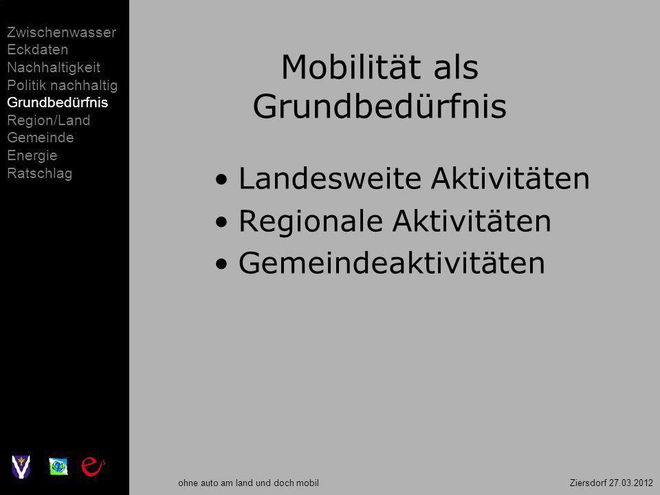 ohne auto am land und doch mobil Ziersdorf 27.03.2012 Mobilität als Grundbedürfnis Landesweite Aktivitäten Regionale Aktivitäten Gemeindeaktivitäten Z