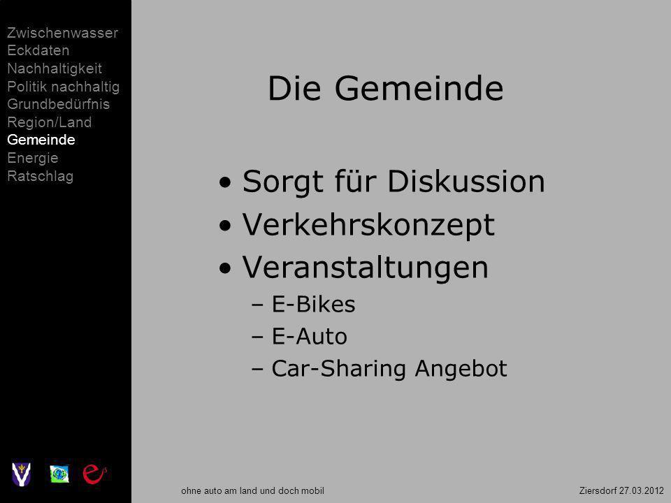 ohne auto am land und doch mobil Ziersdorf 27.03.2012 Die Gemeinde Sorgt für Diskussion Verkehrskonzept Veranstaltungen –E-Bikes –E-Auto –Car-Sharing