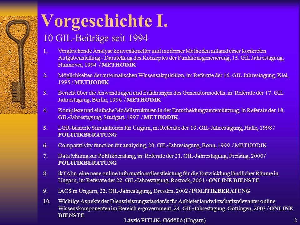 László PITLIK, Gödöllő (Ungarn)2 Vorgeschichte I.