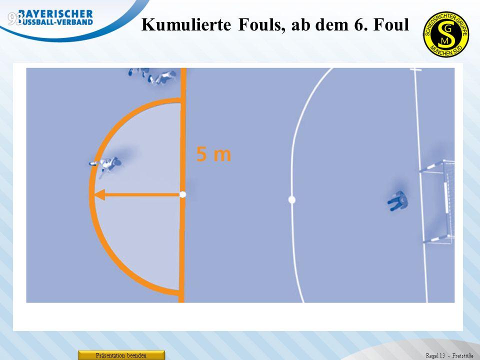 Präsentation beenden Kumulierte Fouls, ab dem 6. Foul Regel 13 - Freistöße