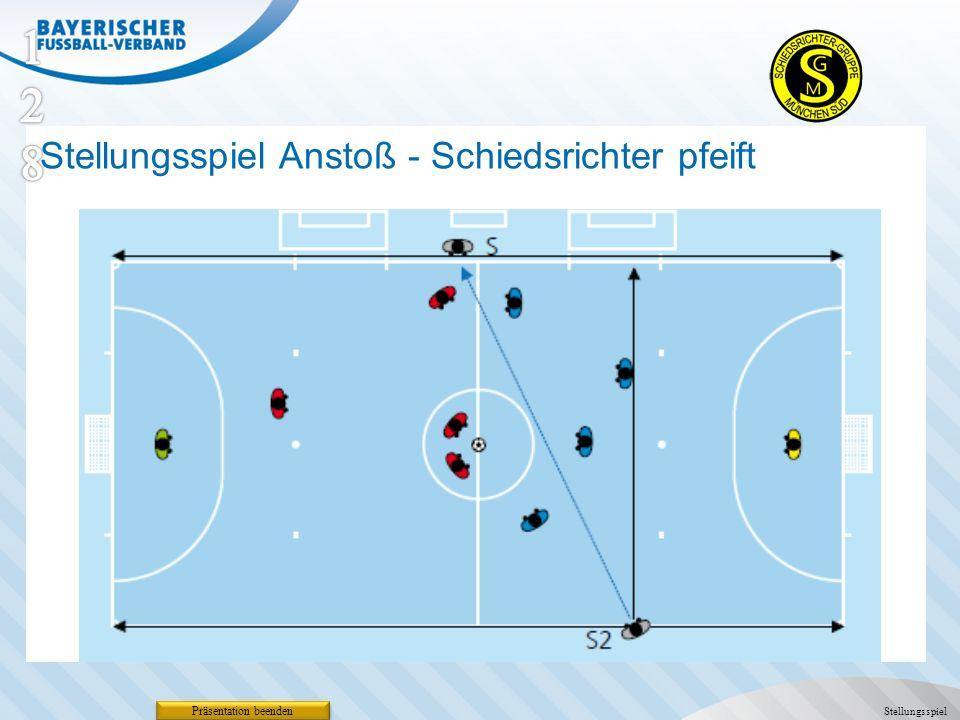 Präsentation beenden Stellungsspiel Stellungsspiel Anstoß - Schiedsrichter pfeift