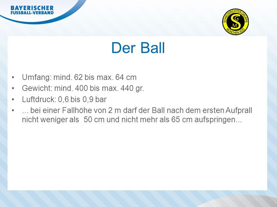 Der Ball Umfang: mind. 62 bis max. 64 cm Gewicht: mind. 400 bis max. 440 gr. Luftdruck: 0,6 bis 0,9 bar... bei einer Fallhöhe von 2 m darf der Ball na