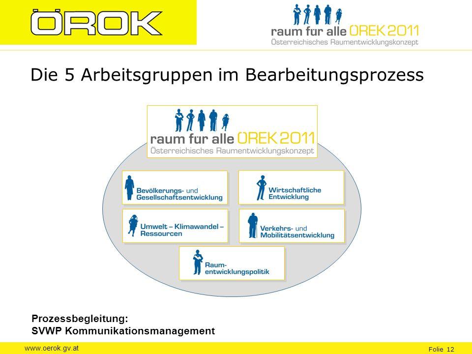 www.oerok.gv.at Folie 12 Die 5 Arbeitsgruppen im Bearbeitungsprozess Prozessbegleitung: SVWP Kommunikationsmanagement