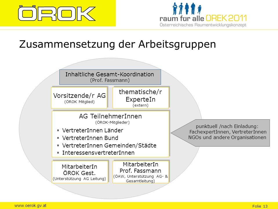 www.oerok.gv.at Folie 13 Zusammensetzung der Arbeitsgruppen MitarbeiterIn ÖROK Gest. (Unterstützung AG Leitung) MitarbeiterIn Prof. Fassmann (ÖAW, Unt
