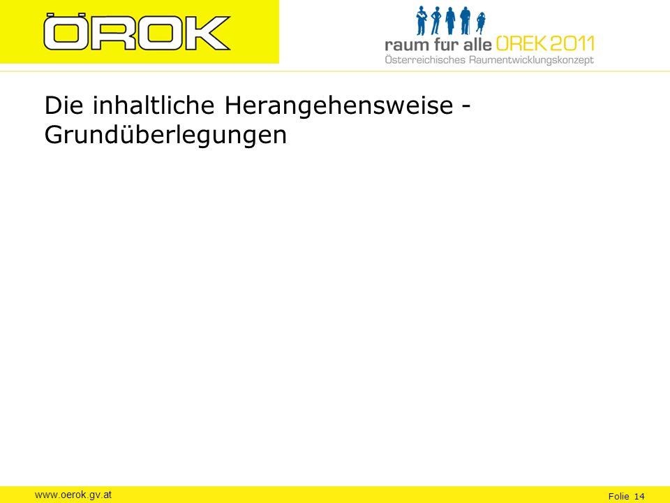 www.oerok.gv.at Folie 14 Die inhaltliche Herangehensweise - Grundüberlegungen