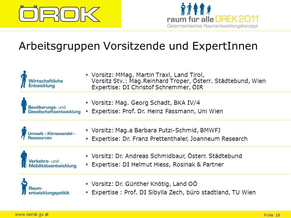 www.oerok.gv.at Folie 18 Arbeitsgruppen Vorsitzende und ExpertInnen Vorsitz: MMag. Martin Traxl, Land Tirol, Vorsitz Stv.: Mag.Reinhard Troper, Österr
