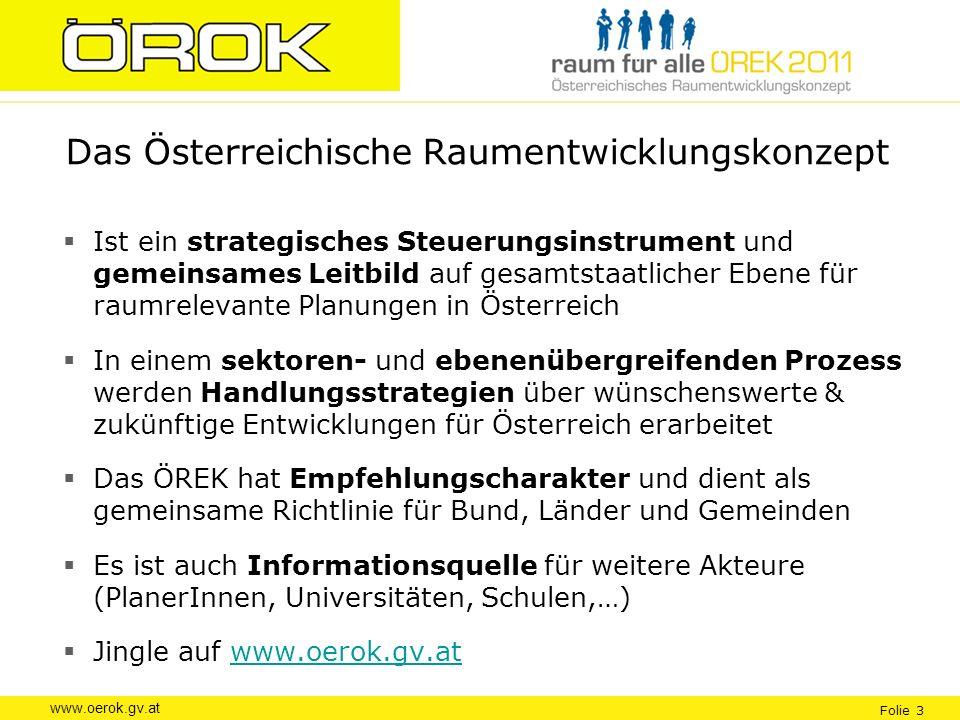www.oerok.gv.at Folie 3 Das Österreichische Raumentwicklungskonzept Ist ein strategisches Steuerungsinstrument und gemeinsames Leitbild auf gesamtstaa