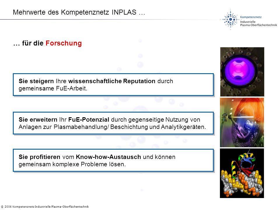 © 2006 Kompetenznetz Industrielle Plasma-Oberflächentechnik Mehrwerte des Kompetenznetz INPLAS … Sie steigern Ihre wissenschaftliche Reputation durch gemeinsame FuE-Arbeit.