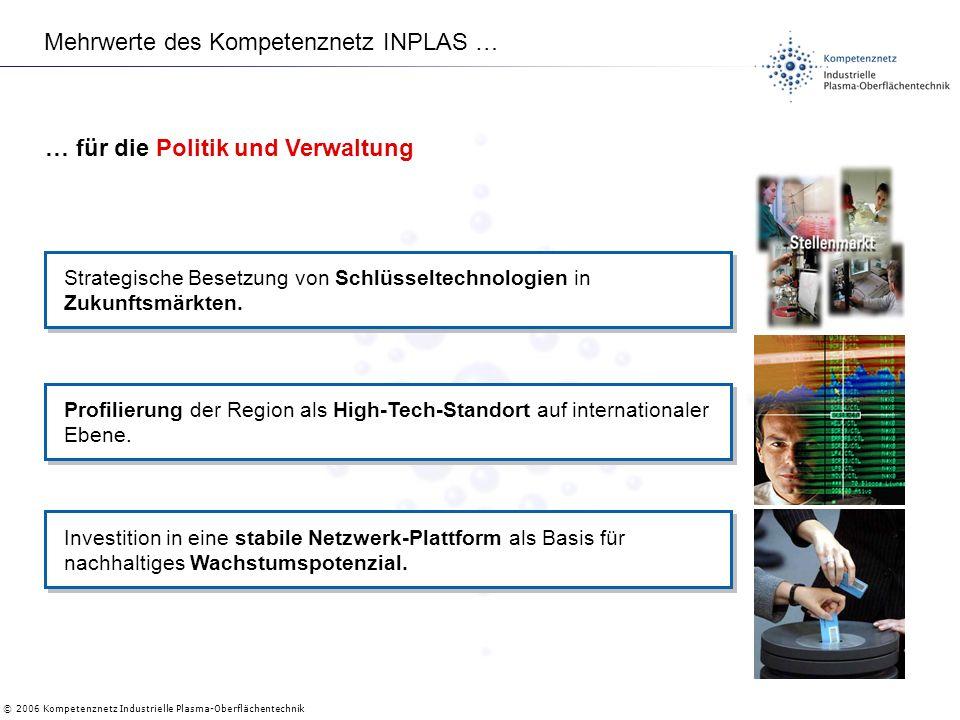 © 2006 Kompetenznetz Industrielle Plasma-Oberflächentechnik Mehrwerte des Kompetenznetz INPLAS … Strategische Besetzung von Schlüsseltechnologien in Zukunftsmärkten.