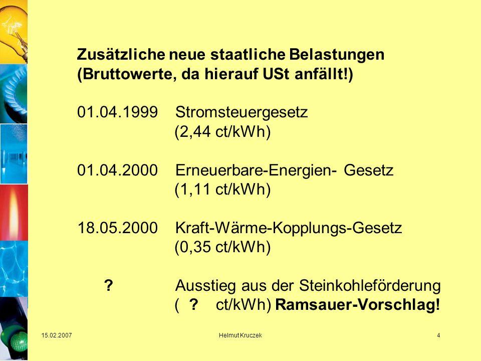 15.02.2007Helmut Kruczek4 Zusätzliche neue staatliche Belastungen (Bruttowerte, da hierauf USt anfällt!) 01.04.1999 Stromsteuergesetz (2,44 ct/kWh) 01.04.2000 Erneuerbare-Energien- Gesetz (1,11 ct/kWh) 18.05.2000 Kraft-Wärme-Kopplungs-Gesetz (0,35 ct/kWh) .