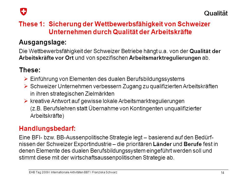 EHB Tag 2009 I Internationale Aktivitäten BBT I Franziska Schwarz 14 These 1: Sicherung der Wettbewerbsfähigkeit von Schweizer Unternehmen durch Qualität der Arbeitskräfte Qualität Ausgangslage: Die Wettbewerbsfähigkeit der Schweizer Betriebe hängt u.a.