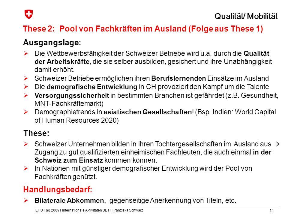 EHB Tag 2009 I Internationale Aktivitäten BBT I Franziska Schwarz 15 These 2:Pool von Fachkräften im Ausland (Folge aus These 1) Qualität/ Mobilität Ausgangslage: Die Wettbewerbsfähigkeit der Schweizer Betriebe wird u.a.