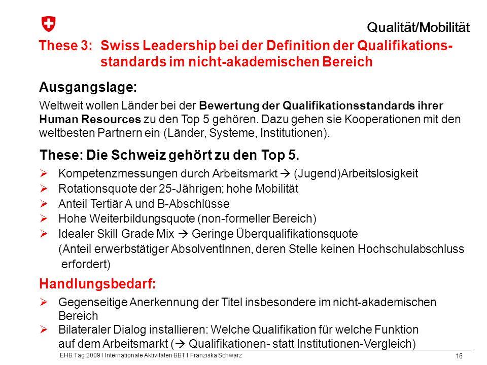 EHB Tag 2009 I Internationale Aktivitäten BBT I Franziska Schwarz 16 These 3:Swiss Leadership bei der Definition der Qualifikations- standards im nicht-akademischen Bereich Qualität/Mobilität Ausgangslage: Weltweit wollen Länder bei der Bewertung der Qualifikationsstandards ihrer Human Resources zu den Top 5 gehören.