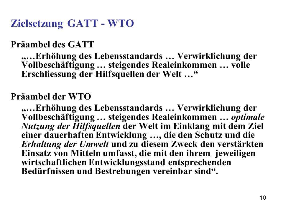 10 Zielsetzung GATT - WTO Präambel des GATT …Erhöhung des Lebensstandards … Verwirklichung der Vollbeschäftigung … steigendes Realeinkommen … volle Er