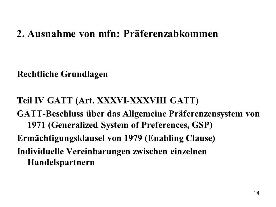 14 2. Ausnahme von mfn: Präferenzabkommen Rechtliche Grundlagen Teil IV GATT (Art. XXXVI-XXXVIII GATT) GATT-Beschluss über das Allgemeine Präferenzens