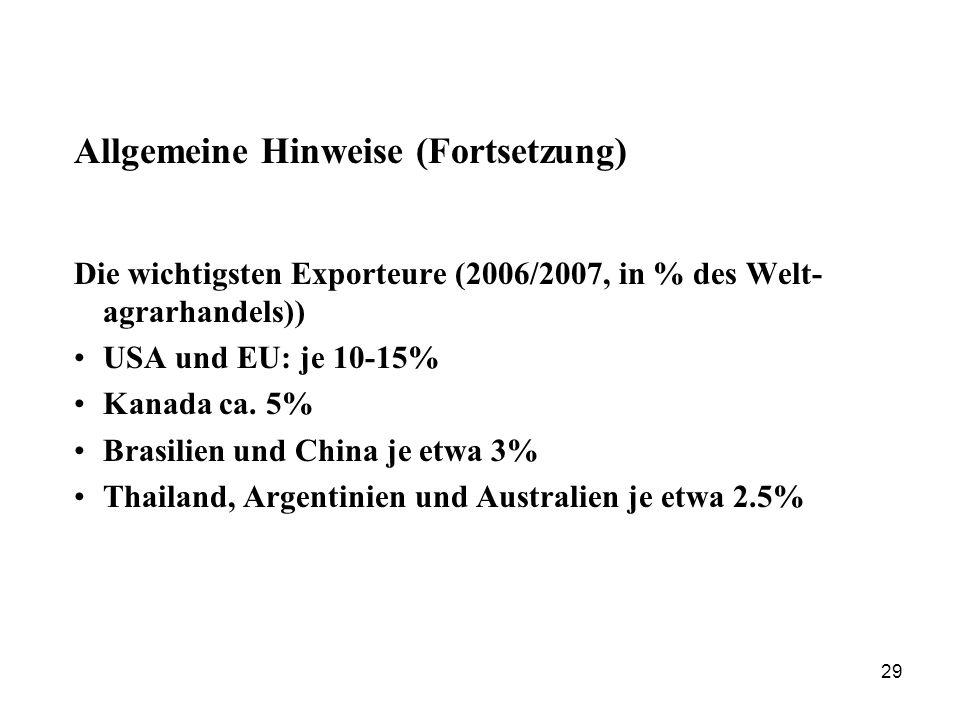29 Allgemeine Hinweise (Fortsetzung) Die wichtigsten Exporteure (2006/2007, in % des Welt- agrarhandels)) USA und EU: je 10-15% Kanada ca. 5% Brasilie