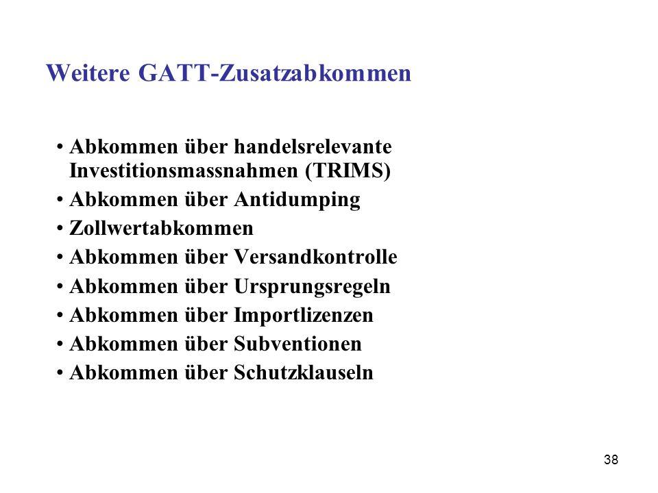 38 Weitere GATT-Zusatzabkommen Abkommen über handelsrelevante Investitionsmassnahmen (TRIMS) Abkommen über Antidumping Zollwertabkommen Abkommen über