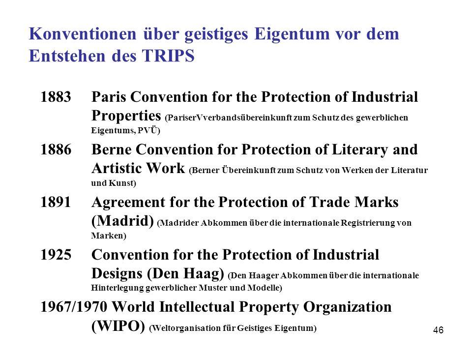 46 Konventionen über geistiges Eigentum vor dem Entstehen des TRIPS 1883 Paris Convention for the Protection of Industrial Properties (PariserVverband