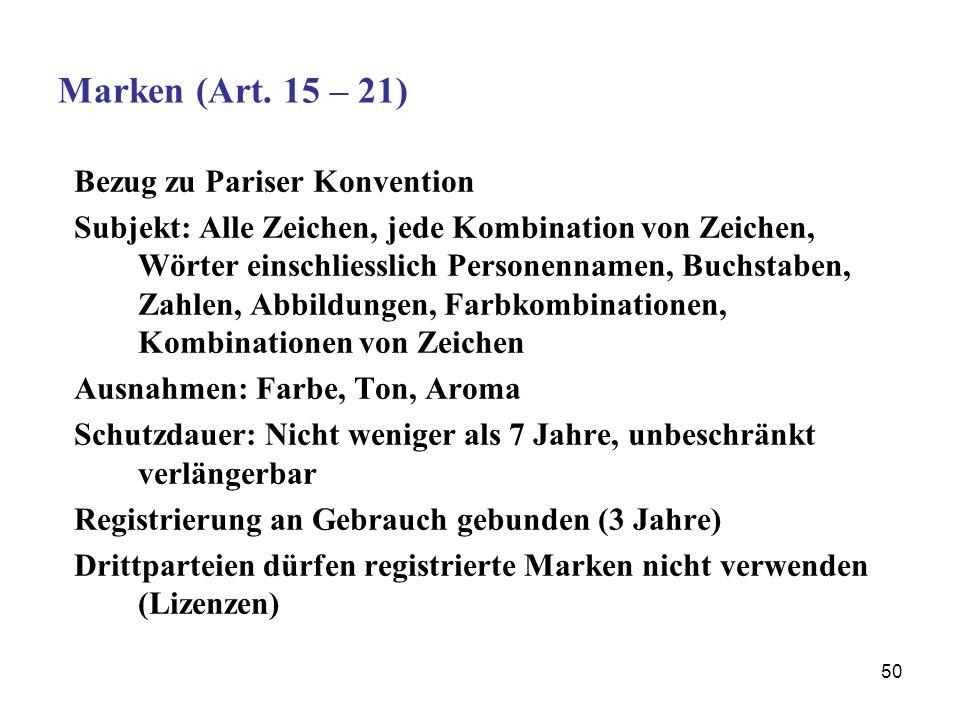 50 Marken (Art. 15 – 21) Bezug zu Pariser Konvention Subjekt: Alle Zeichen, jede Kombination von Zeichen, Wörter einschliesslich Personennamen, Buchst