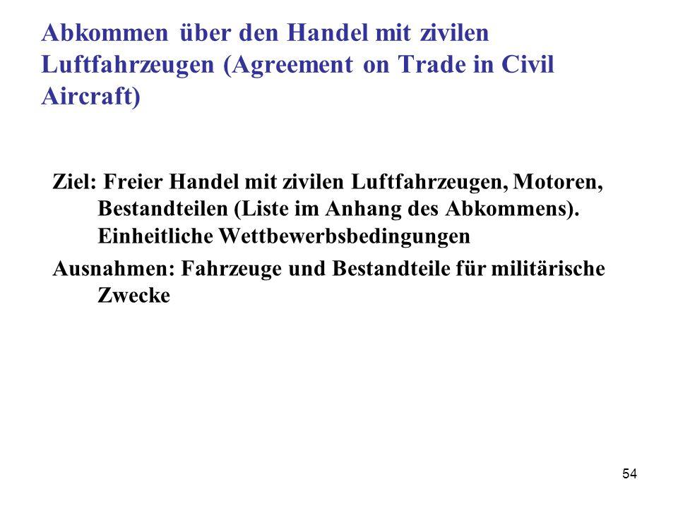 54 Abkommen über den Handel mit zivilen Luftfahrzeugen (Agreement on Trade in Civil Aircraft) Ziel: Freier Handel mit zivilen Luftfahrzeugen, Motoren,