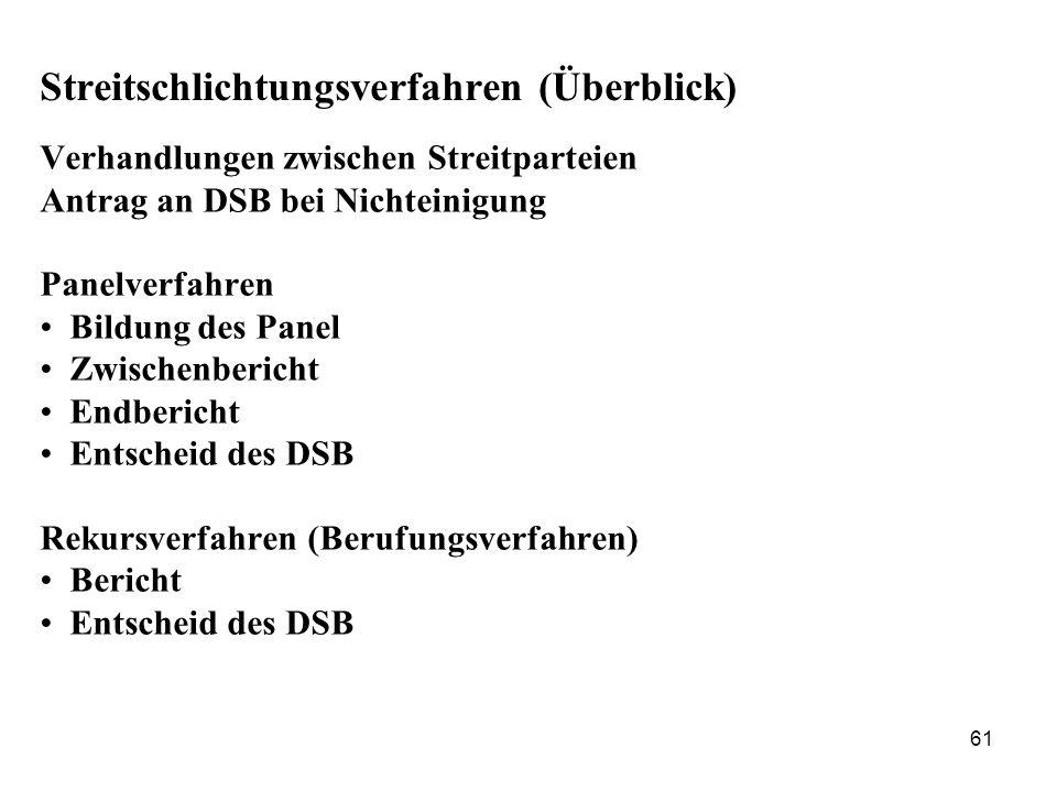 61 Streitschlichtungsverfahren (Überblick) Verhandlungen zwischen Streitparteien Antrag an DSB bei Nichteinigung Panelverfahren Bildung des Panel Zwis