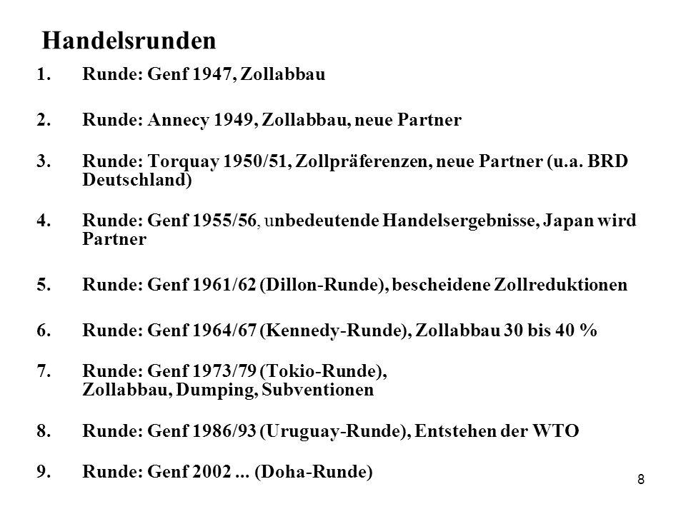 8 Handelsrunden 1.Runde: Genf 1947, Zollabbau 2. Runde: Annecy 1949, Zollabbau, neue Partner 3. Runde: Torquay 1950/51, Zollpräferenzen, neue Partner
