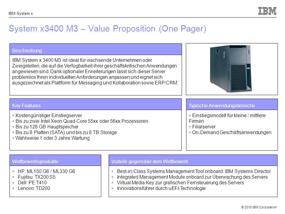 © 2010 IBM Corporation IBM System x System x3400 M3 – Value Proposition (One Pager) Beschreibung IBM System x 3400 M3 ist ideal für wachsende Unternehmen oder Zweigstellen, die auf die Verfügbarkeit ihrer geschäftskritischen Anwendungen angewiesen sind.