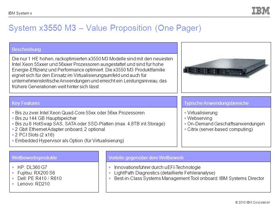 © 2010 IBM Corporation IBM System x System x3550 M3 – Value Proposition (One Pager) Beschreibung Die nur 1 HE hohen, rackoptimierten x3550 M3 Modelle