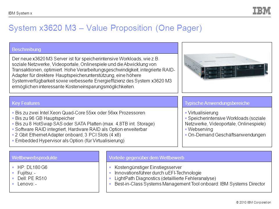 © 2010 IBM Corporation IBM System x System x3620 M3 – Value Proposition (One Pager) Beschreibung Der neue x3620 M3 Server ist für speicherintensive Workloads, wie z.B.