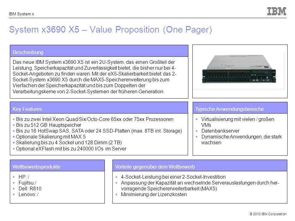© 2010 IBM Corporation IBM System x System x3690 X5 – Value Proposition (One Pager) Beschreibung Das neue IBM System x3690 X5 ist ein 2U-System, das e
