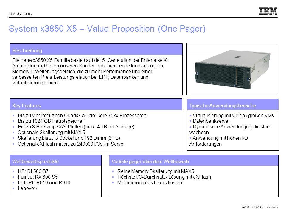 © 2010 IBM Corporation IBM System x System x3850 X5 – Value Proposition (One Pager) Beschreibung Die neue x3850 X5 Familie basiert auf der 5. Generati