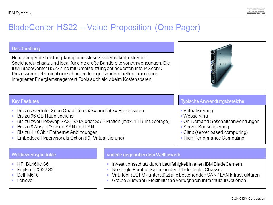 © 2010 IBM Corporation IBM System x BladeCenter HS22 – Value Proposition (One Pager) Beschreibung Herausragende Leistung, kompromisslose Skalierbarkei