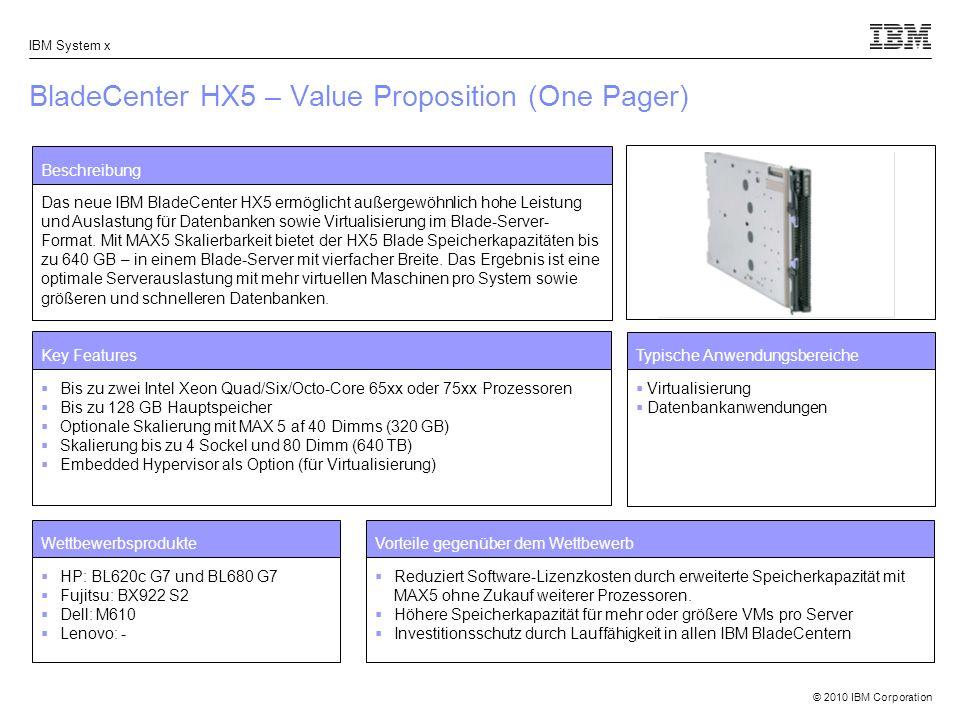 © 2010 IBM Corporation IBM System x BladeCenter HX5 – Value Proposition (One Pager) Beschreibung Das neue IBM BladeCenter HX5 ermöglicht außergewöhnlich hohe Leistung und Auslastung für Datenbanken sowie Virtualisierung im Blade-Server- Format.