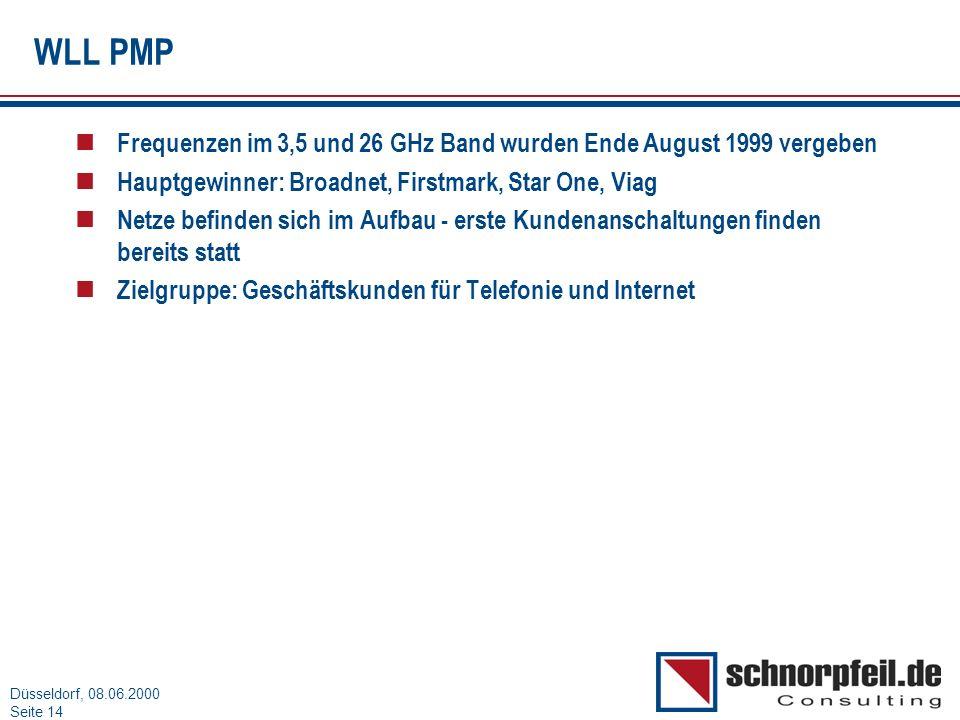 Folie 14München, 15.03.2000 Düsseldorf, 08.06.2000 Seite 14 WLL PMP n Frequenzen im 3,5 und 26 GHz Band wurden Ende August 1999 vergeben n Hauptgewinn