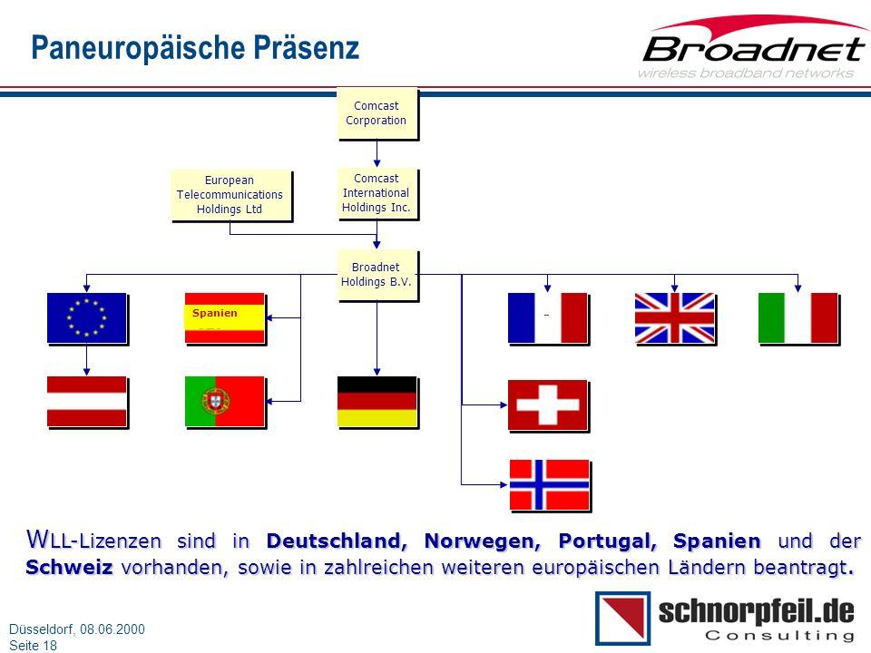Folie 18München, 15.03.2000 Düsseldorf, 08.06.2000 Seite 18 Paneuropäische Präsenz Broadnet Holdings B.V. Broadnet Holdings B.V. Comcast Corporation C