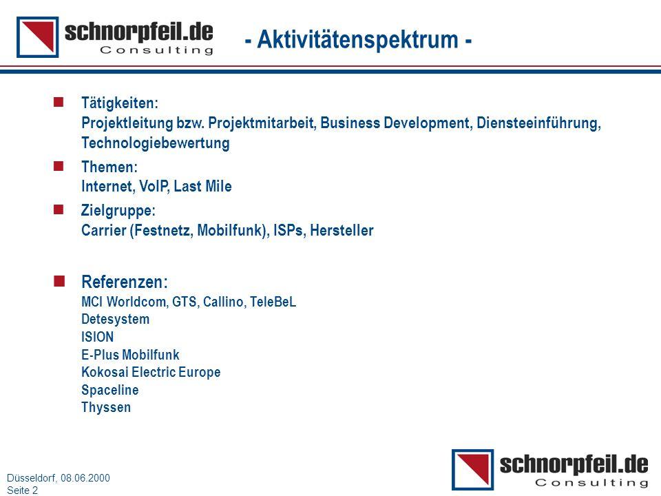 Folie 2München, 15.03.2000 Düsseldorf, 08.06.2000 Seite 2 - Aktivitätenspektrum - n Tätigkeiten: Projektleitung bzw. Projektmitarbeit, Business Develo