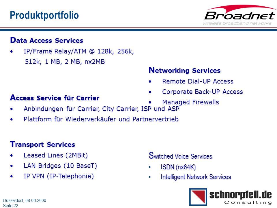 Folie 22München, 15.03.2000 Düsseldorf, 08.06.2000 Seite 22 Produktportfolio S witched Voice Services ISDN (nx64K)ISDN (nx64K) Intelligent Network Ser