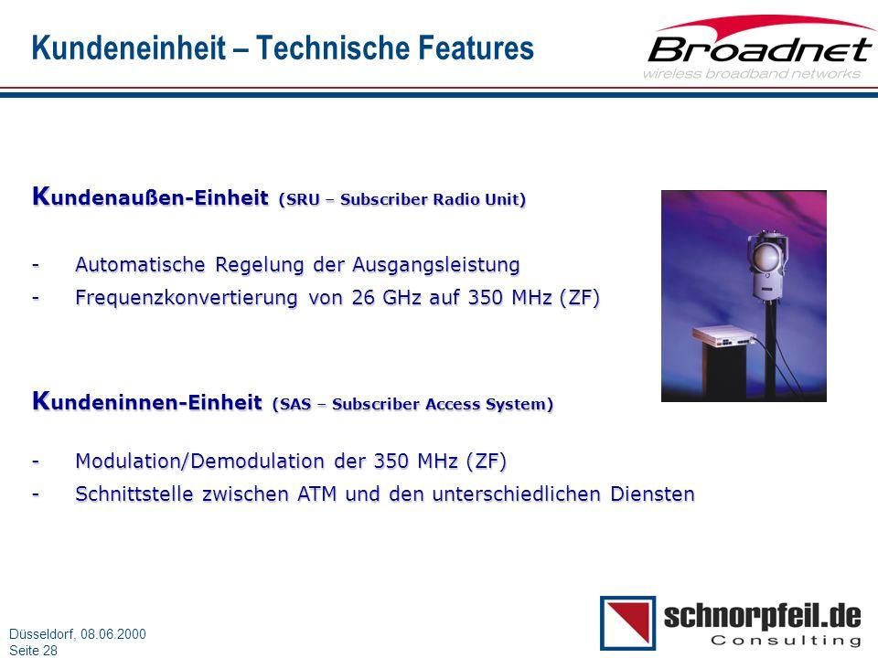 Folie 28München, 15.03.2000 Düsseldorf, 08.06.2000 Seite 28 Kundeneinheit – Technische Features K undenaußen-Einheit (SRU – Subscriber Radio Unit) -Au