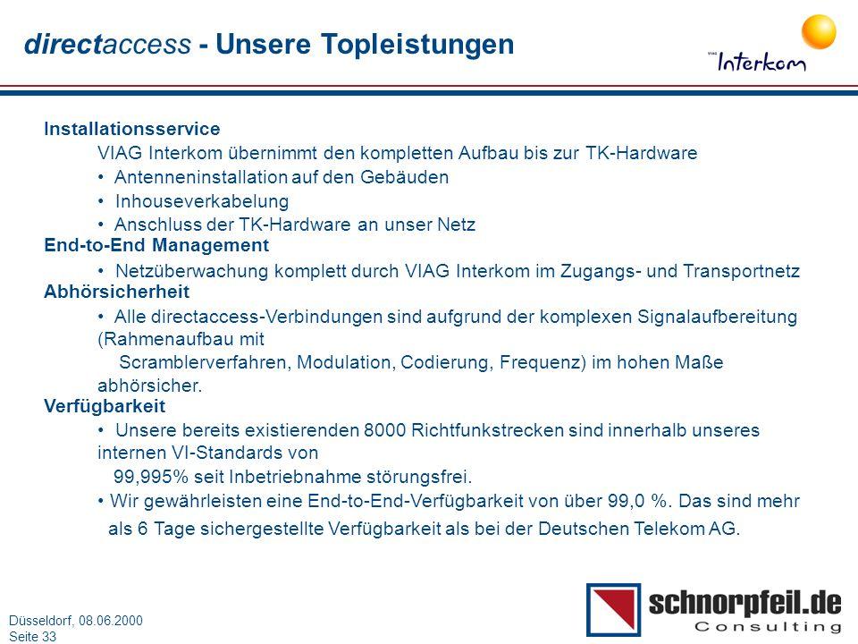 Folie 33München, 15.03.2000 Düsseldorf, 08.06.2000 Seite 33 directaccess - Unsere Topleistungen Installationsservice VIAG Interkom übernimmt den kompl