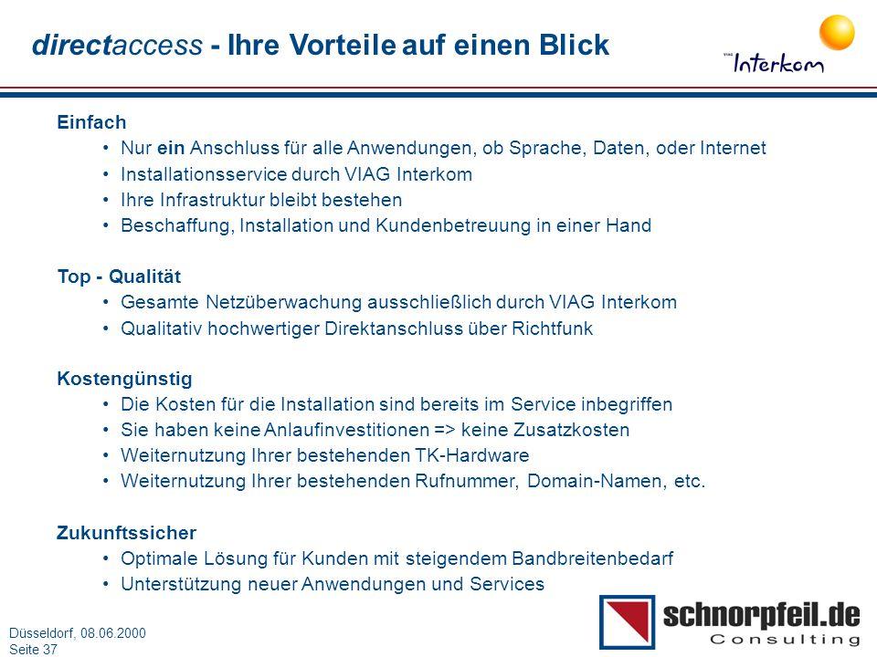 Folie 37München, 15.03.2000 Düsseldorf, 08.06.2000 Seite 37 Einfach Nur ein Anschluss für alle Anwendungen, ob Sprache, Daten, oder Internet Installat