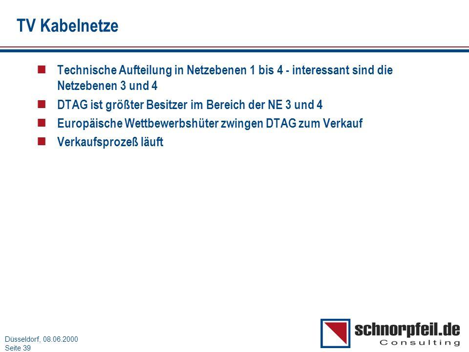 Folie 39München, 15.03.2000 Düsseldorf, 08.06.2000 Seite 39 TV Kabelnetze n Technische Aufteilung in Netzebenen 1 bis 4 - interessant sind die Netzebe