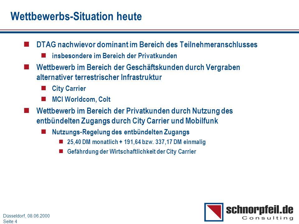 Folie 4München, 15.03.2000 Düsseldorf, 08.06.2000 Seite 4 Wettbewerbs-Situation heute n DTAG nachwievor dominant im Bereich des Teilnehmeranschlusses